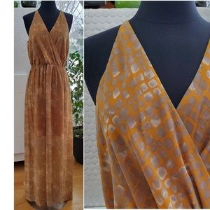 New Tahari Gemma Dress Beauty Queen Apricot Maxi M